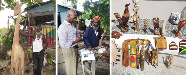 Left: Leemon proudly shows a life-sized baby giraffe carved from a single tree trunk. Middle: DeKalb resident Don Roman admires Leemon's handiwork as he is shown a book of Jamaican master artists in which Leemon is profiled. Right: Many Rastafarians are craftspeople and often sell their wares at resorts and public beaches.