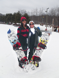 Gale Gay, right, and her daughter Imani took their share of bumps and spills while learning to snowboard.