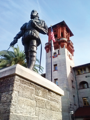 The statue of Pedro Menendez de Aviles, who founded the city of St. Augustine, graces a prominent spot in downtown St. Augustine. Photo by Gale Horton Gay