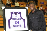 New York Jets receiver and Miller Grove alum Stephen Hill was honored Feb. 1 with a jersey retirement ceremony. Photos by Travis Hudgons