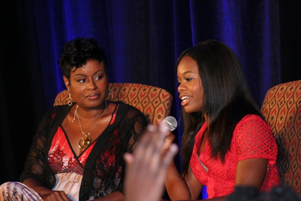 "Olympic gold medalist Gabrielle ""Gabby"" Douglas (right) participated in a Q&A session with young gymnasts and fans at the 2013 Youth Empowerment Breakfast. Photos by Donna Turner"
