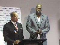 From left, MARTA Board of Director's Chairman Frederick Daniels and former NBA basketball player and clothing designer Kevin Willis talk about the importance of making MARTA an enjoyable ride for everyone. Photo by Daniel Beauregard