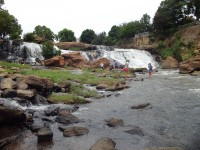 The cascading Reedy Falls is the centerpiece of riverfront development.