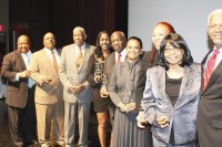 "DeKalb Commissioner Stan Watson stands with Trail Blazer award winners William ""Buck"" Godfrey, Gilbert ""Doc"" Turman, Gwen Torrence, Gregory B. Levett Sr., Carolyn Jernigan Glenn, Jennifer Ffrench-Parker and Valerie J. Morgan. Photos by Travis Hudgons"
