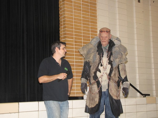 """Don't be a monster"" was the message of Jesse Hamrick and Frank the monster during the anti-bullying program."
