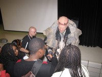 Students at Lithonia Middle School met Frank the monster during an anti-bullying program Oct. 31. Photos by Andrew Cauthen