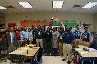 The Georgia Prep Sports Academy football players visited third graders at Stoneview Elementary School. Photos by Joe Gladney