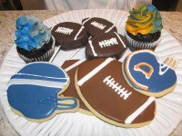 Sweet Dee's Bakeshop in Tucker is featuring Super Bowl inspired cookies and cupcakes for big game parties. Other local retailers such as Tin Lizzy's Cantina and Whole Foods are making sure game-time snacks are plentiful. Sweet Dee's photo by Kathy Mitchell. Other photos provided.