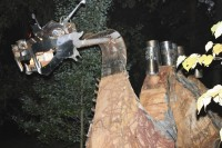 Sang Bu, a fire-breathing dragon sculpture that has sat in an East Atlanta park for two years, has been moved to another location in East Atlanta Village.