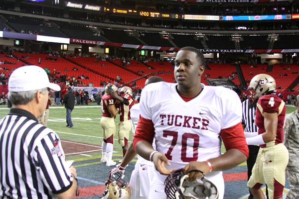 Although Elisha Shaw didn't play his senior season, he was an honorary captain when Tucker faced Creekside for the AAAAA state championship at the Georgia Dome. Photos by Travis Hudgons