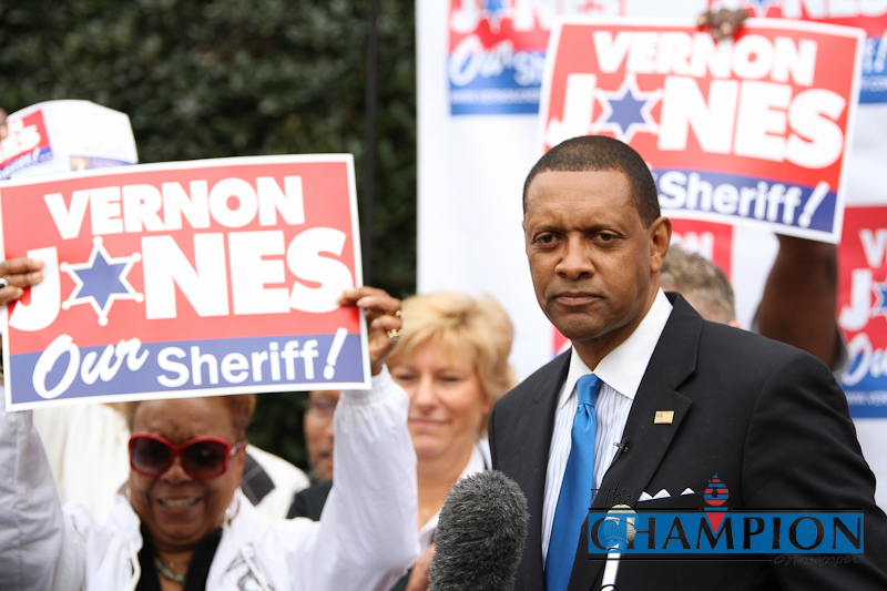 """DeKalb County needs some serious leadership, not just someone that says, 'I've been a police officer,'"" said former DeKalb County CEO Vernon Jones when he announced his bid for the county sheriff's position. Photos by Travis Hudgons"