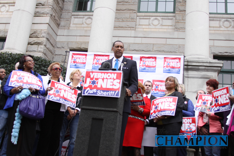 Feb. 20 - Decatur, GA-Vernon Jones announces his candidacy for DeKalb County sheriff on the steps of the old Decatur Courthouse. Photo by Travis Hudgons