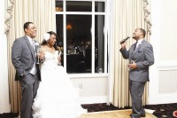 The laughs continued when Bruce's brother and groomsman Joseph Hinton started his toast with a song.