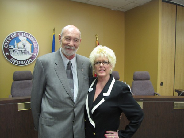 Founder of the Chamblee Chamber of Commerce Art Freeman and deputy executive director Barbara Barber during the last Business Association meeting hosted on March 20 at the Chamblee Civic Center.