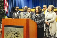 DeKalb County commissioners answer questions after passing the 2014 preliminary budget. File photo