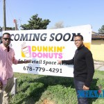 Sir Love and Kadeem Dunwell were among those out to celebrate the groundbreaking of the Wesley Chapel Road Dunkin' Donuts. Photo by Travis Hudgons