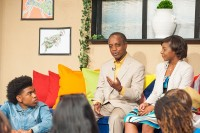 """DeKalb County high school students interview Rashan Ali and school Superintendent Michael Thurmond during a production of """"The Bridge,"""" a student-produced show debutting May 10 on PDS-TV24."""