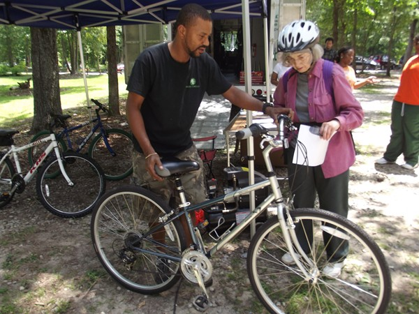 Jackie Macomber of Clarkston checks out a bike before hitting the trail at Davidson Arabia Mountain Nature Preserve.