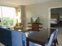 This suite has a living room with wet bar and half bath and  bedroom with full bathroom.
