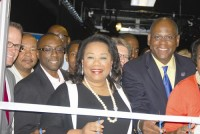 Commissioners Larry Johnson and Sharon Barnes Sutton along with GPTC president Jabari Simama cut the ribbon on the television production studio, new to GPTC. Photos by Lauren Ramsdell