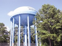 The repainting of this water tank near Avondale Estates is one of several projects completed in the county's billion-dollar watershed capital improvement project. Photo by Andrew Cauthen
