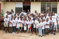 Students and volunteers at the Watford Hill Primary School in Hanover, Jamaica.