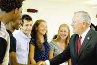 Representatives from student government and clubs met Gov. Nathan Deal as he toured the school. Photo by Lauren Ramsdell