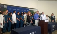 Dr. Kent Brantly reads a statement after he was released from Emory University Hospital where he was treated for Ebola. Photos provided