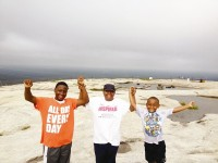 Lung cancer victim Shermaine Lee, center, poses atop Stone Mountain with sons Larico Lee II, left, and Corbin, right. Photos provided