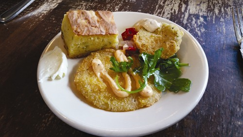 Plates of fried green tomatoes, fried pickles and corn bread were presented at the Virginia's tour stop.