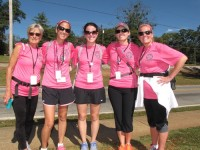 Liz Brecher, Alden Sturgis, Katie Johnson, Sallie Gray Clayton, Audra Thompson paused for a photo near Clarkston as they participated in the Susan G. Komen 3-Day walk Oct. 17-19. They walked in honor of Julie Bellum, a friend who has cancer. Photo by Andrew Cauthen