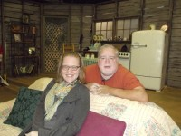 Barbara Cole Uterhardt, artistic company manager for OnStage Atlanta, and Barry West, managing director, on the set of the recently staged The Sugar Bean Sisters. Photos by Gale Horton Gay