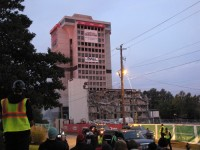 The old Executive Park building's last moments were marked by hundreds who watched it implode.
