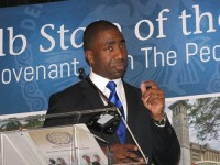 "Interim DeKalb County CEO Lee May introduced a ""new covenant"" to restore trust in government. Photos by Andrew Cauthen"