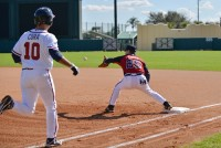 Former DeKalb County baseball coach Alan Loper plays first base at the Braves Fantasy Camp. Photos provided