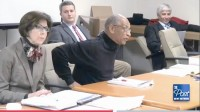 """Robert Blackman, center, resigned from the ethics board after telling Robert Lundsten, an former aide of ex-commissioner Elaine Boyer, to """"come outside."""""""