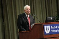 U.S. President Jimmy Carter, University Distinguished Professor at Emory, answers questions posed by Emory University students and visitors.