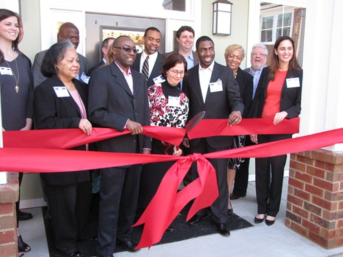 County and community leaders participated in a ribbon-cutting event with developers April 1.