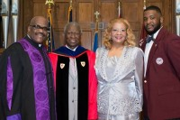 From left, Bishop Quincy Lavelle Carswell, a two-time honoree of the Morehouse College Martin Luther King Jr. Board of Preachers, is joined by Morehouse professor Lawrence Edward Carter Sr., wife Gwendolyn Jones Carswell, and son Quincy Lavelle Carswell II. Photo provided