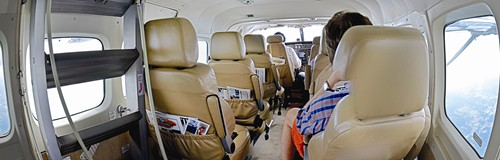 Interior of the Cessna with leather seats and plenty of leg and arm room. Photo provided by Aurelien Carrigan/Southern Airways