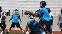 Cedar Grove quarterback Jelani Woods receives the snapped ball during the DTRL 7-on-7 tournament.