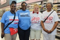 Stephanie Lee, Bonita Terrell, Carol Garrett and Dorothy Graves volunteered at the Candler Road Walgreens encouraging residents to get tested.