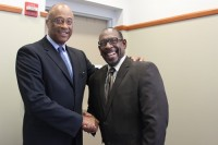 DeKalb County Schools Superintendent Stephen Green standing with Board of Education Chairman Melvin Johnson at the DeKalb County Courthouse.