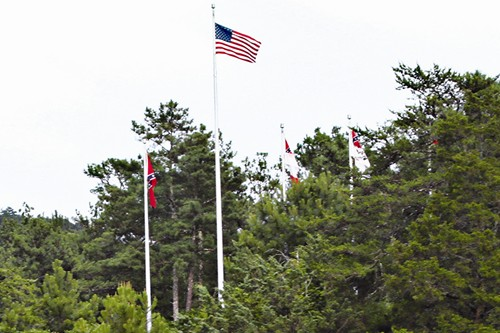 Various versions of the Confederate battle flag have a protected status by state law at Stone Mountain Park. Photo by Travis Hudgons