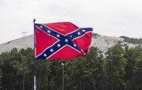Several dozen Confederate flags flew at Saturday's rally. Photo by Justin Beaudrot