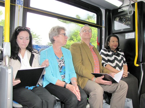 DeKalb Commissioners Nancy Jester, Kathie Gannon, Jeff Rader and Sharon Barnes Sutton ride the MARTA bus to District 5. Photos by Andrew Cauthen