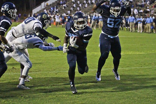 Saints All-State running back LaBron Morris had 18 carries, 167-yards and two touchdowns against Southwest DeKalb. Photo by Travis Hudgons