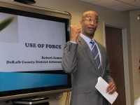 DeKalb County District Attorney Robert James explains his new policy for reviewing officer-involved shootings. Photo by Andrew Cauthen