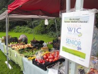 The farmers market was organized to promote locally grown fruits and vegetables.