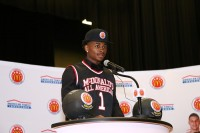 Miller Grove guard Alterique Gilbert was selected for McDonald's All American Boys team. He received his game jersey during a Jan. 25 ceremony. Photos by Travis Hudgons